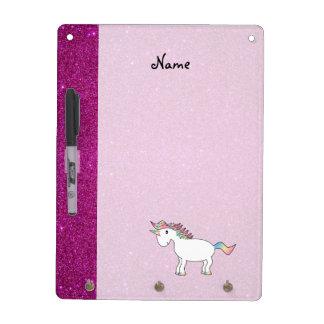 Personalized name unicorn pink glitter Dry-Erase whiteboard