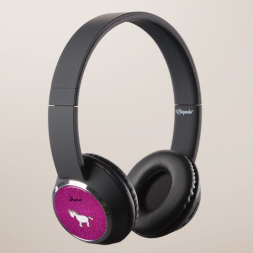 Personalized name unicorn pink glitter headphones