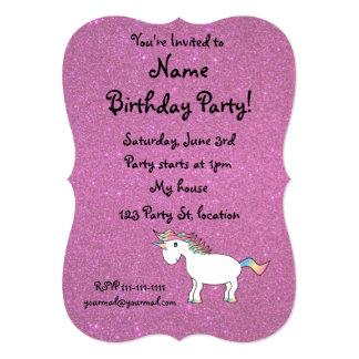 Personalized name unicorn pink glitter personalized invites