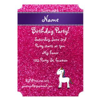 Personalized name unicorn pink glitter personalized invite