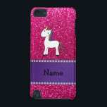"""Personalized name unicorn pink glitter iPod touch (5th generation) cover<br><div class=""""desc"""">Cute animal rainbow hair unicorn on a neon hot pink glitter (not real glitter) pattern background and purple stripe. Personalized with your name gifts or monogram gifts or your initials. Cute unicorn gift ideas for kids, boys and girls. Ideal for birthday&#39;s party. If you hit the customize it button you...</div>"""