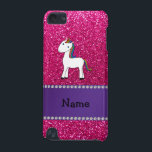 "Personalized name unicorn pink glitter iPod touch (5th generation) cover<br><div class=""desc"">Cute animal rainbow hair unicorn on a neon hot pink glitter (not real glitter) pattern background and purple stripe. Personalized with your name gifts or monogram gifts or your initials. Cute unicorn gift ideas for kids, boys and girls. Ideal for birthday&#39;s party. If you hit the customize it button you...</div>"