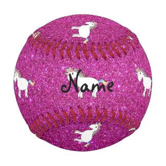 Personalized name unicorn pink glitter baseballs