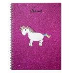 Personalized name unicorn pink glitter spiral note books