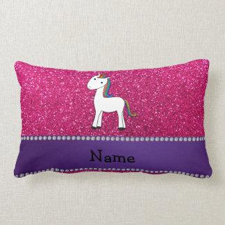 Personalized name unicorn pink glitter throw pillow