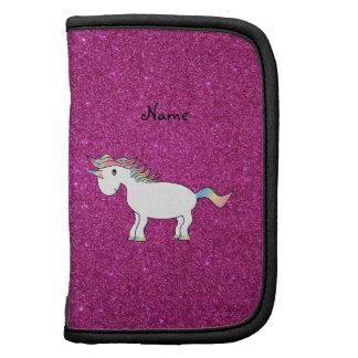 Personalized name unicorn pink glitter organizer
