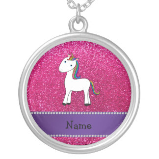 Personalized name unicorn pink glitter silver plated necklace