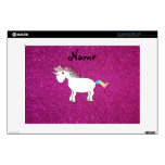 "Personalized name unicorn pink glitter skins for 13"" laptops"
