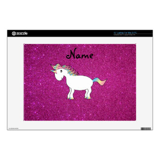 """Personalized name unicorn pink glitter skins for 13"""" laptops"""