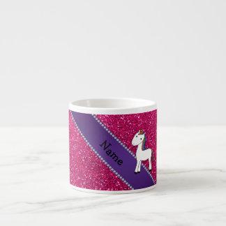 Personalized name unicorn pink glitter espresso cup