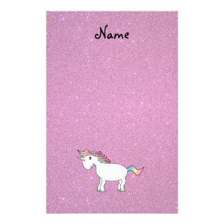 Personalized name unicorn pink glitter stationery