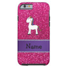 Personalized name unicorn pink glitter tough iPhone 6 case