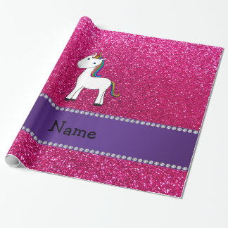 Personalized name unicorn pink glitter wrapping paper