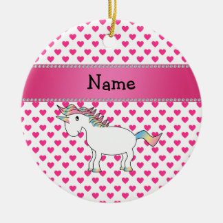 Personalized name unicorn pink hearts ceramic ornament