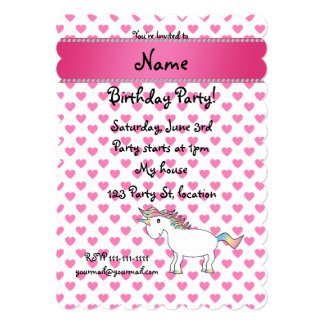 Personalized name unicorn pink hearts invites