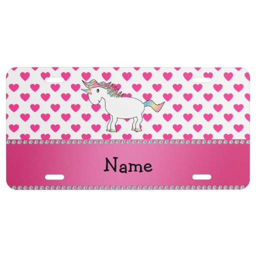 Personalized name unicorn pink hearts license plate