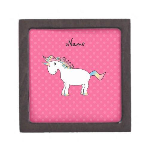 Personalized name unicorn pink polka dots premium gift boxes