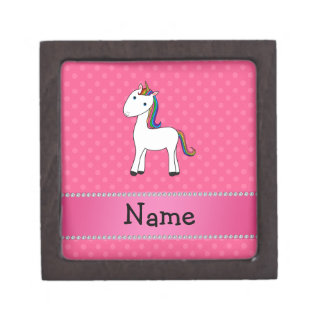 Personalized name unicorn pink polka dots premium jewelry boxes