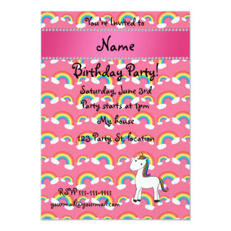 Personalized name unicorn pink rainbows card