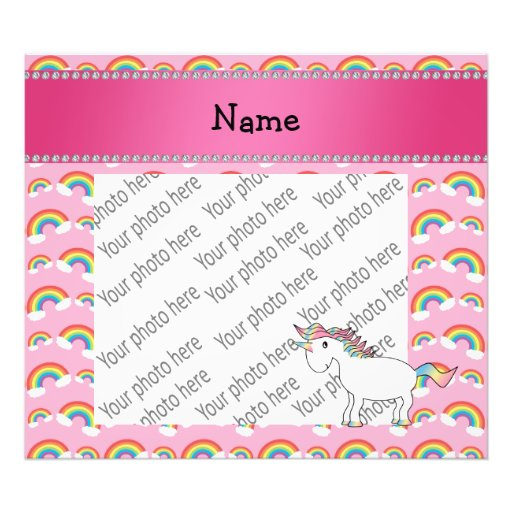 Personalized name unicorn pink rainbows photo print