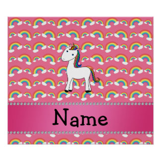 Personalized name unicorn pink rainbows poster