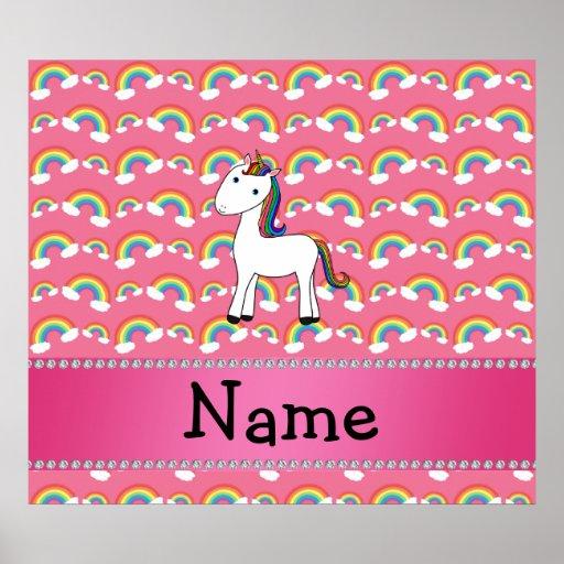 Personalized name unicorn pink rainbows print