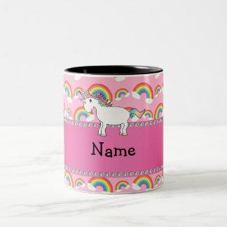 Personalized name unicorn pink rainbows Two-Tone coffee mug