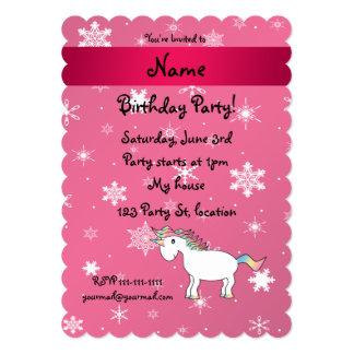 Personalized name unicorn pink snowflakes personalized invites