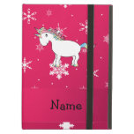 Personalized name unicorn pink snowflakes iPad cover