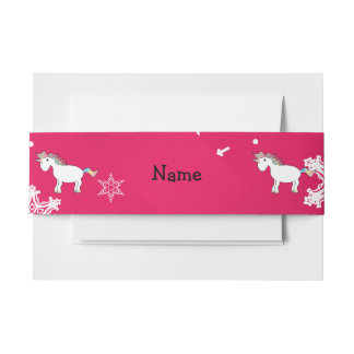 Personalized name unicorn pink snowflakes invitation belly band