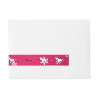 Personalized name unicorn pink snowflakes wraparound address label