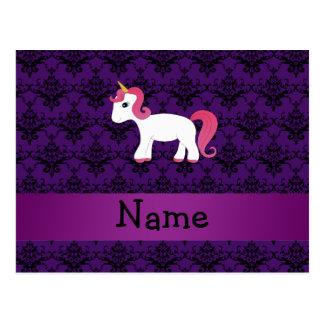 Personalized name unicorn purple damask post cards