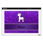 "Personalized name unicorn purple glitter 17"" laptop skins"