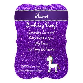 Personalized name unicorn purple glitter announcement
