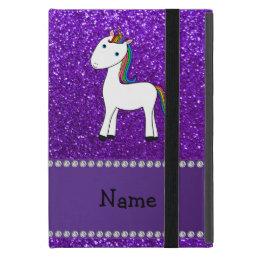 Personalized name unicorn purple glitter iPad mini cover