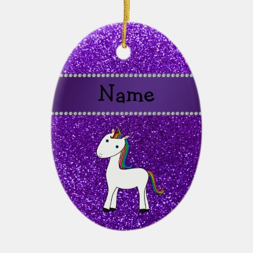 Personalized name unicorn purple glitter christmas tree ornaments