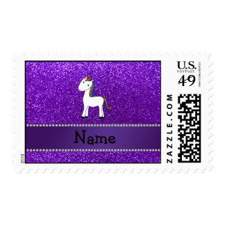 Personalized name unicorn purple glitter postage