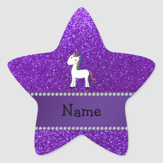 Personalized name unicorn purple glitter star sticker