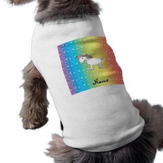 Personalized name unicorn rainbow hearts dog clothes