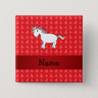 Personalized name unicorn red christmas trees button