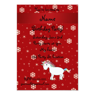 Personalized name unicorn red snowflakes announcement