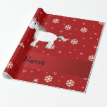 Personalized name unicorn red snowflakes gift wrapping paper