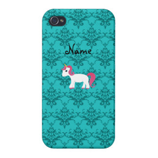 Personalized name unicorn turquoise damask iPhone 4/4S cover