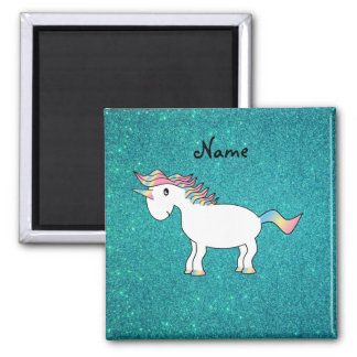 Personalized name unicorn turquoise glitter 2 inch square magnet
