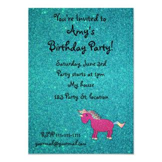 Personalized name unicorn turquoise glitter 4.5x6.25 paper invitation card