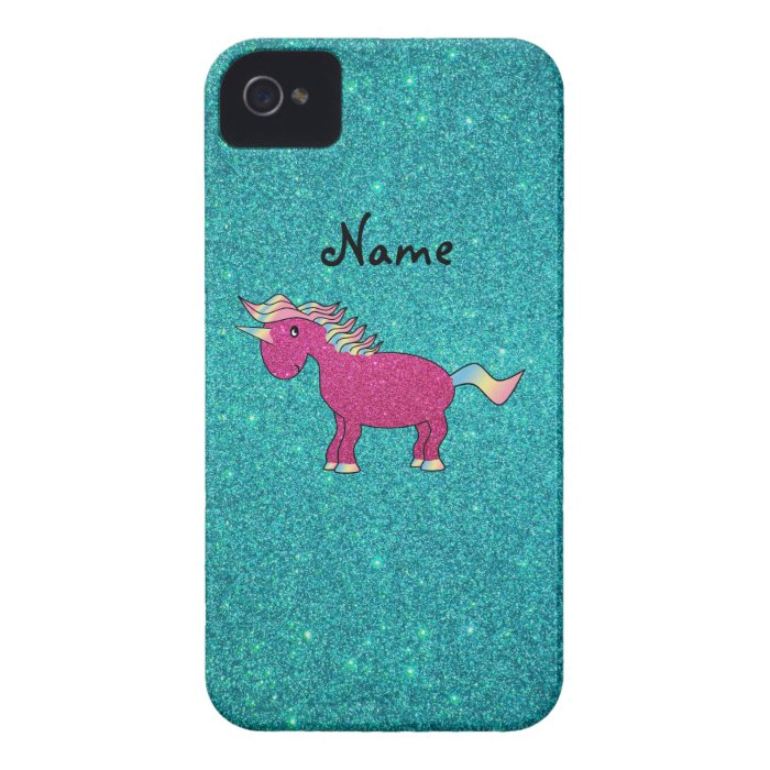 Personalized name unicorn turquoise glitter Case-Mate iPhone 4 case