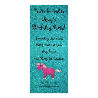 Personalized name unicorn turquoise glitter invite