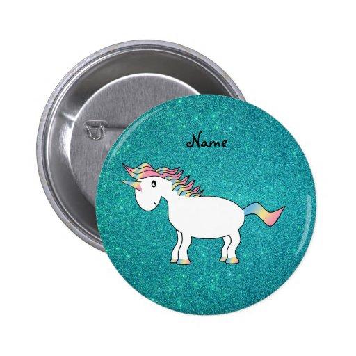 Personalized name unicorn turquoise glitter pins