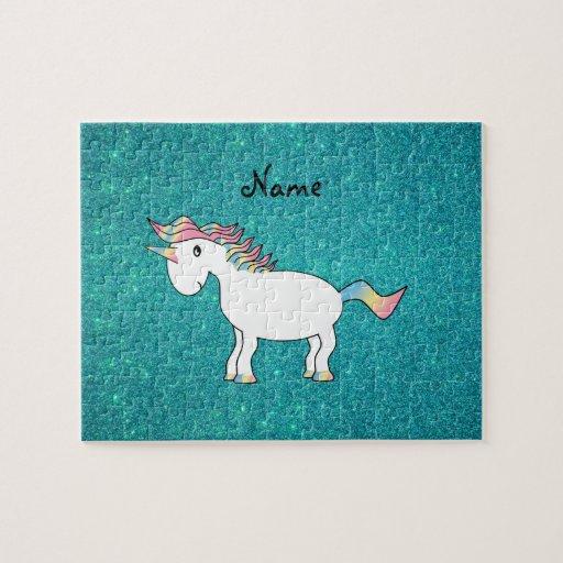 Personalized name unicorn turquoise glitter puzzle