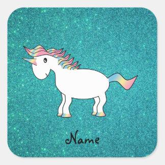 Personalized name unicorn turquoise glitter square sticker